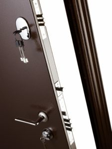 Дверь входная металлическая Меги 573 левая 2050х870 мм снаружи металл Медный антик внутри МДФ 1664 Беленый дуб