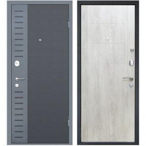 Дверь входная металлическая МеталЮр М28 правая 2050х960 мм снаружи металл Черный бархат внутри МДФ Дуб шале снежный