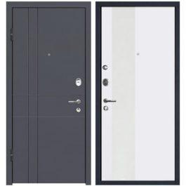 Дверь входная металлическая МеталЮр М16 левая 2050х960 мм снаружи МДФ винорит Антрацит внутри МДФ Аляска белый лак