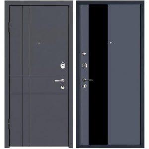 Дверь входная металлическая МеталЮр М16 левая 2050х860 мм снаружи МДФ винорит Антрацит внутри МДФ Антрацит серебро