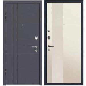 Дверь входная металлическая МеталЮр М16 левая 2050х960 мм снаружи МДФ винорит Антрацит внутри МДФ Магнолия перламутровый лак