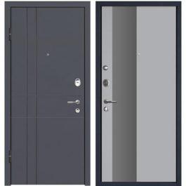 Дверь входная металлическая МеталЮр М16 левая 2050х860 мм снаружи МДФ винорит Антрацит внутри МДФ Манхеттэн серебро