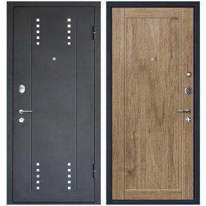 Дверь входная металлическая МеталЮр М26 правая 2050х960 мм снаружи металл Черный бархат внутри МДФ Салинас светлый