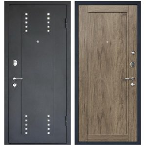 Дверь входная металлическая МеталЮр М26 правая 2050х960 мм снаружи металл Черный бархат внутри МДФ Салинас темный