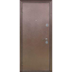 Дверь входная металлическая Меги 592 левая 2050х870 мм снаружи металл Медный антик внутри МДФ 1022 Итальянский орех