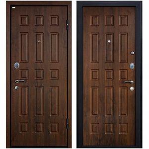 Дверь входная металлическая МеталЮр М3 правая 2050х960 мм снаружи и внутри МДФ винорит Темный орех