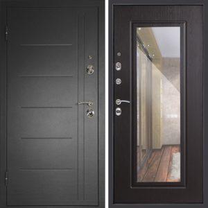 Дверь входная металлическая  Сити-зеркало левая 860×2050 мм Венге