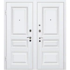 Дверь входная металлическая МеталЮр М11 левая 2050х860 мм снаружи и внутри МДФ винорит белый