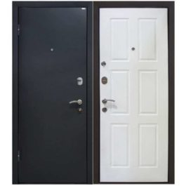 Дверь входная металлическая МеталЮр М21 левая 2050х960 мм снаружи металл Черный бархат внутри МДФ белая