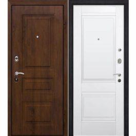 Дверь входная металлическая МеталЮр М9 правая 2050х960 мм снаружи МДФ винорит Темный орех внутри МДФ экошпон Аляска