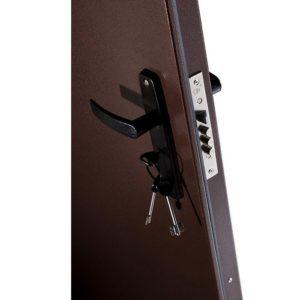 Дверь входная металлическая Меги 60 левая 2050х870 мм снаружи металл Медный антик внутри ХДФ Миланский орех
