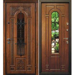 Дверь входная металлическая Сталлер Лацио правая 2050х960 мм снаружи и внутри МДФ винорит Дуб золотой