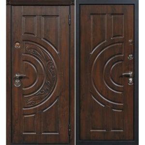 Дверь входная металлическая Сталлер Луна правая 2050х960 мм снаружи МДФ винорит Дуб тёмный внутри МДФ винорит Дуб золотой