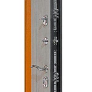 Дверь входная металлическая  Сити-зеркало левая 860×2050 мм Беленый дуб