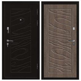 Дверь входная металлическая Промет С3 Джаз правая 2066х980 мм снаружи металл Черный муар внутри МДФ Орех темный