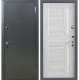 Дверь входная металлическая Меги 573 правая 2050х870 мм снаружи металл Серебро на черном внутри МДФ 0545 С Беленый дуб