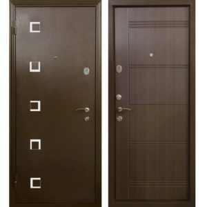 Дверь входная металлическая Меги 553 левая 2050х870 мм снаружи металл Медный антик внутри МДФ 0446 Венге