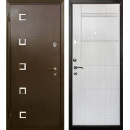 Дверь входная металлическая Меги 553 левая 2050х870 мм снаружи металл Медный антик внутри МДФ 0546 Беленый дуб