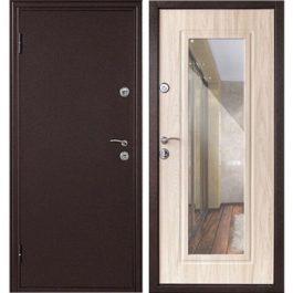 Дверь входная металлическая  Элегия левая 2050х860 мм снаружи металл Медный антик внутри МДФ Дуб белёный
