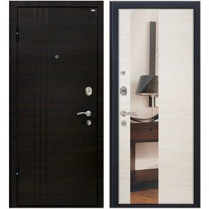 Дверь входная металлическая МеталЮр М15 левая 2050х860 мм снаружи МДФ Эковенге внутри МДФ Эшвайт с зеркалом