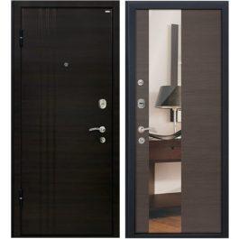 Дверь входная металлическая МеталЮр М15 левая 2050х860 мм снаружи МДФ Эковенге внутри МДФ Грей с зеркалом