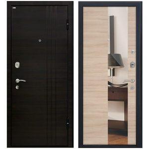Дверь входная металлическая МеталЮр М15 правая 2050х860 мм снаружи МДФ Эковенге внутри МДФ Капучино с зеркалом