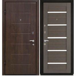 Дверь входная металлическая МеталЮр М7 левая 2050х860 мм снаружи МДФ винорит Темный орех внутри МДФ экошпон Грей мелинга