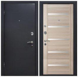 Дверь входная металлическая МеталЮр М41 левая 2050х960 мм снаружи металл Черный шелк внутри МДФ Капучино мелинга белое стекло