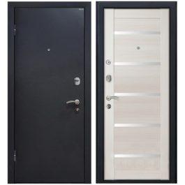 Дверь входная металлическая МеталЮр М41 левая 2050х860 мм снаружи металл Черный шелк внутри МДФ Эшвайт мелинга белое стекло