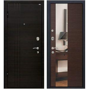 Дверь входная металлическая МеталЮр М15 левая 2050х860 мм снаружи МДФ Эковенге внутри МДФ Венге с зеркалом