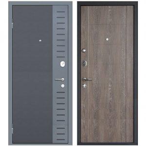 Дверь входная металлическая МеталЮр М28 левая 2050х860 мм снаружи металл Черный бархат внутри МДФ Дуб шале корица