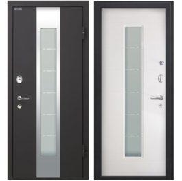 Дверь входная металлическая МеталЮр М35 правая 2050х960 мм снаружи металл Черный бархат внутри МДФ с ПВХ Белый малибу
