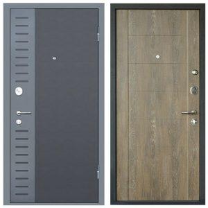 Дверь входная металлическая МеталЮр М28 правая 2050х960 мм снаружи металл Черный бархат внутри МДФ Дуб шале натуральный