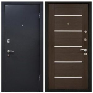 Дверь входная металлическая МеталЮр М41 правая 2050х960 мм снаружи металл Черный шелк внутри МДФ Венге мелинга белое стекло