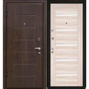 Дверь входная металлическая МеталЮр М7 левая 2050х860 мм снаружи МДФ винорит Темный орех внутри МДФ экошпон Капучино