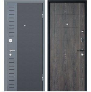 Дверь входная металлическая МеталЮр М28 правая 2050х960 мм снаружи металл Черный бархат внутри МДФ Дуб шале графит
